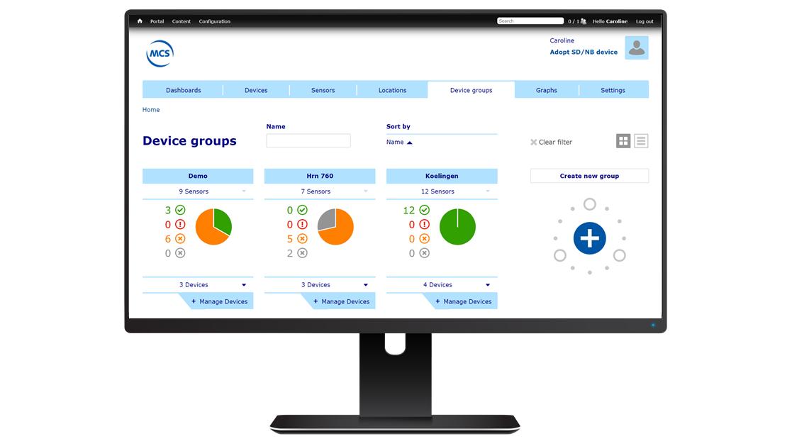 SensDesk Portal computer met device groups