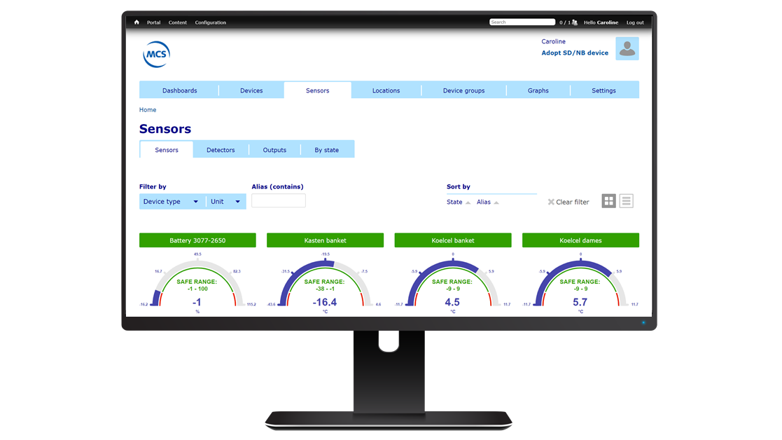SensDesk Portal computer met sensoren